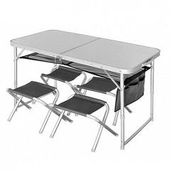 Стол складной Norfin RUNN NF алюминиевый (+4 стула набор)