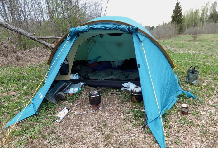 2-х местная синяя палатка